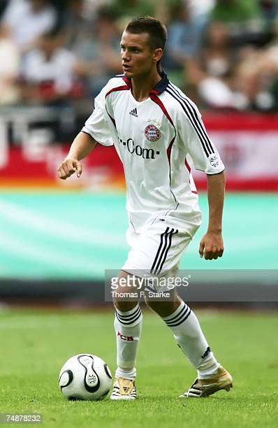 Alexander Benede of Munich runs with the ball during the A Juniors Final between Bayer Leverkusen and Bayern Munich at the BayArena on June 24 2007...