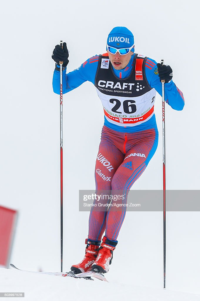 Alexander Bessmertnykh of Russia competes during the FIS Nordic World Cup Men's and Women's Cross Country Tour de Ski on January 8, 2016 in Toblach Hochpustertal, Italy.