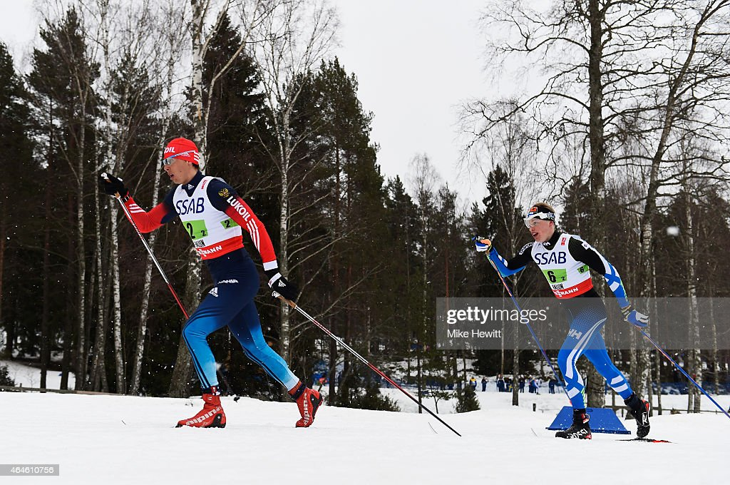 Alexander Bessmertnykh of Russia competes with <a gi-track='captionPersonalityLinkClicked' href=/galleries/search?phrase=Iivo+Niskanen&family=editorial&specificpeople=12444756 ng-click='$event.stopPropagation()'>Iivo Niskanen</a> of Finland during the Men's 4 x 10km Cross-Country Relay during the FIS Nordic World Ski Championships at the Lugnet venue on February 27, 2015 in Falun, Sweden.