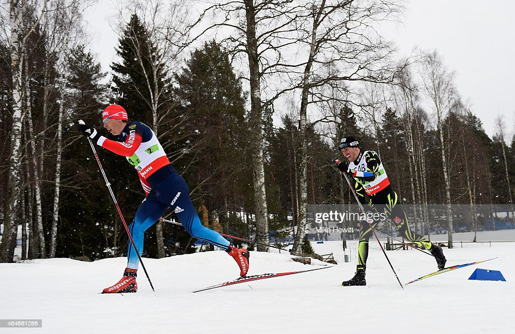 Alexander Bessmertnykh (L) of Russia competes with <a gi-track='captionPersonalityLinkClicked' href=/galleries/search?phrase=Maurice+Manificat&family=editorial&specificpeople=5632025 ng-click='$event.stopPropagation()'>Maurice Manificat</a> of France during the Men's 4 x 10km Cross-Country Relay during the FIS Nordic World Ski Championships at the Lugnet venue on February 27, 2015 in Falun, Sweden.