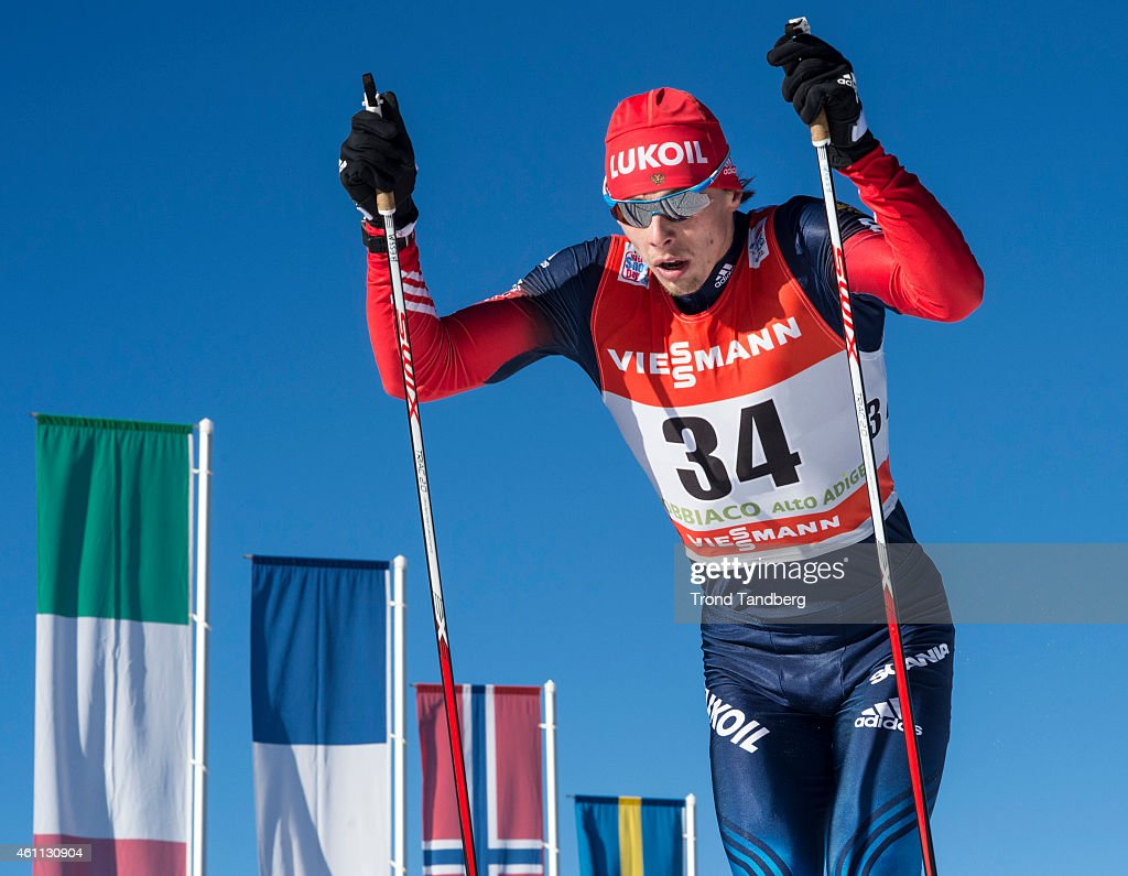Alexander Bessmertnykh of Russia during Men 10.0 km Individual, Classic Tour de Ski on January 7, 2015 in Toblach Hochpustertal, Italy.