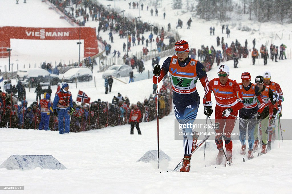 Alexander Bessmertnykh of Russia takes 1st place during the FIS Cross-Country World Cup Men's Relay on December 08, 2013 in Lillehammer, Norway.