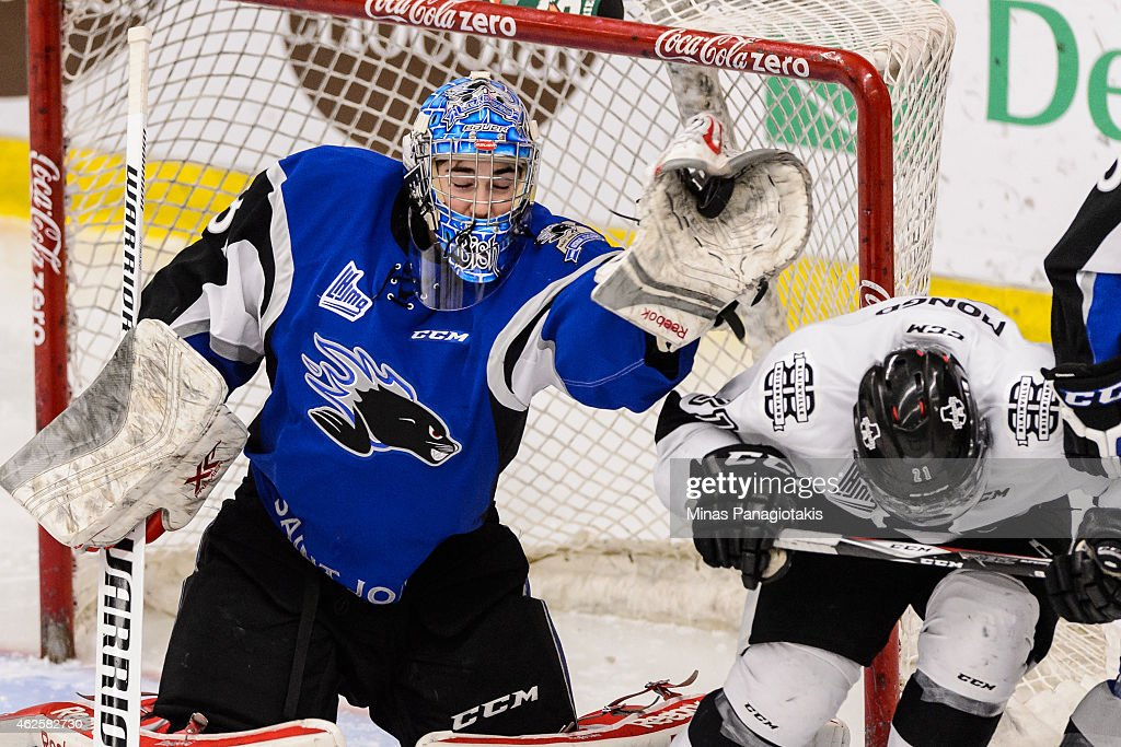 Alexander Bishop #31 of the Saint John Sea Dogs gloves the puck during the QMJHL game against the Blainville-Boisbriand Armada at the Centre Excellence Rousseau on January 31, 2015 in Blainville-Boisbriand, Quebec, Canada. The Blainville-Boisbriand Armada defeated the Saint John Sea Dogs 4-0.