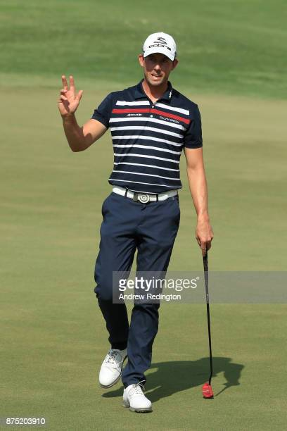 Alexander Bjork of Sweden acknowledges the crowd on the 2nd green during the second round of the DP World Tour Championship at Jumeirah Golf Estates...