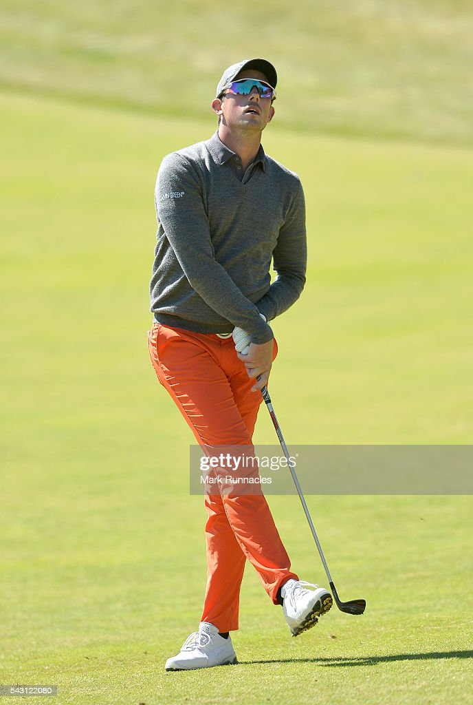 Alexander Bjork of Sweden at the 1st during the final day of the 2016 SSE Scottish Hydro Challenge at the MacDonald Spey Valley Golf Course on June 26, 2016 in Aviemore, Scotland.