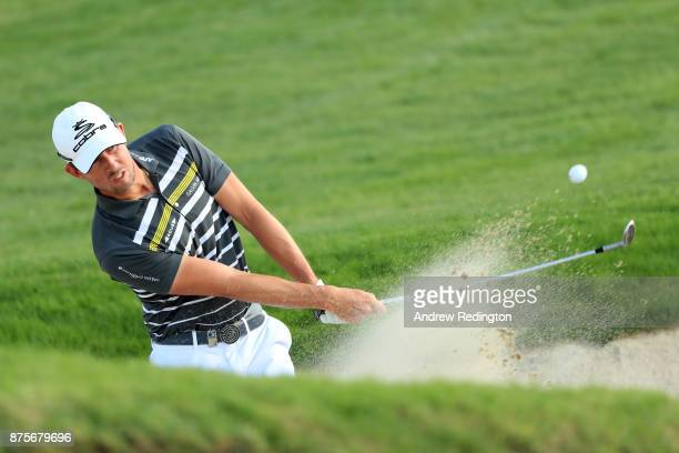 Alexander Bjork of Sweden hits his third shot on the 18th hole during the third round of the DP World Tour Championship at Jumeirah Golf Estates on...
