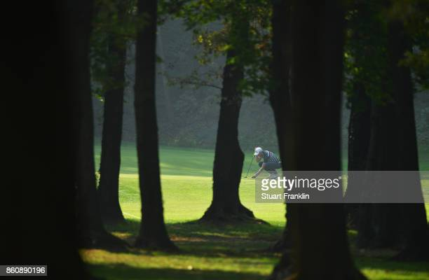 Alexander Bjork of Sweden lines up a putt during day two of the Italian Open at Golf Club Milano Parco Reale di Monza on October 13 2017 in Monza...