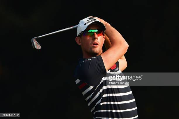 Alexander Bjork of Sweden plays a shot during day two of the Italian Open at Golf Club Milano Parco Reale di Monza on October 13 2017 in Monza Italy