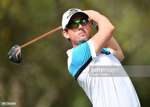 Alexander Bjork of Sweden plays a shot during practice prior to the Trophee Hassan II at Royal Golf Dar Es Salam on April 11 2017 in Rabat Morocco