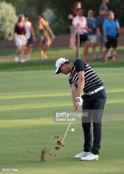 Alexander Bjork of Sweden plays a shot during the second round of the DP World Tour Championship at Jumeirah Golf Estates in Dubai on November 17...