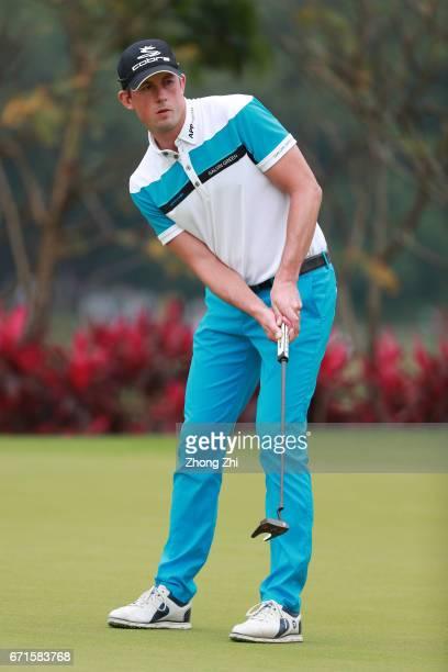Alexander Bjork of Sweden plays a shot during the third round of the Shenzhen International at Genzon Golf Club on April 22 2017 in Shenzhen China