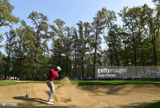 Alexander Bjork of Sweden plays a shot during the third round of the Italian Open at Golf Club Milano Parco Reale di Monza on October 14 2017 in...