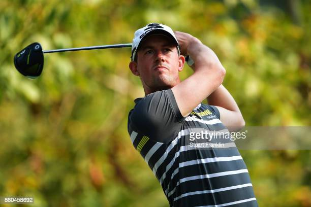 Alexander Bjork of Sweden plays a shot on Day One of the Italian Open at Golf Club Milano Parco Reale di Monza on October 12 2017 in Monza Italy