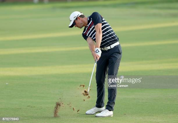 Alexander Bjork of Sweden plays his second shot on the 18th hole during the second round of the DP World Tour Championship on the Earth Course at...
