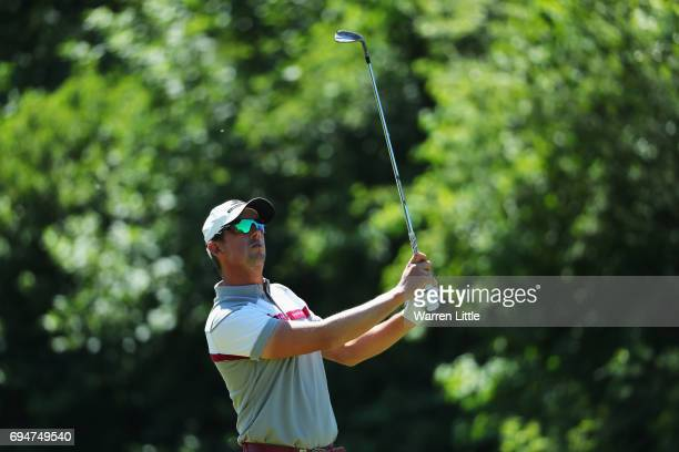 Alexander Bjork of Sweden plays his second shot on the 3rd hole during the final round on day four of the Lyoness Open at Diamond Country Club on...