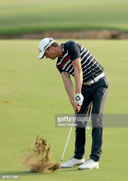 Alexander Bjork of Sweden plays his third shot on the 18th hole during the second round of the DP World Tour Championship on the Earth Course at...