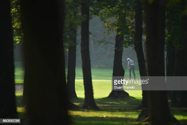 Alexander Bjork of Sweden putts during day two of the Italian Open at Golf Club Milano Parco Reale di Monza on October 13 2017 in Monza Italy