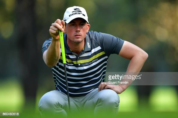 Alexander Bjork of Sweden reacts on Day One of the Italian Open at Golf Club Milano Parco Reale di Monza on October 12 2017 in Monza Italy