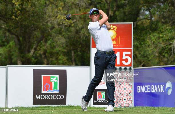 Alexander Bjork of Sweden tees off on the 15th hole during the first round on day one of the Trophee Hassan II at Royal Golf Dar Es Salam on April 13...