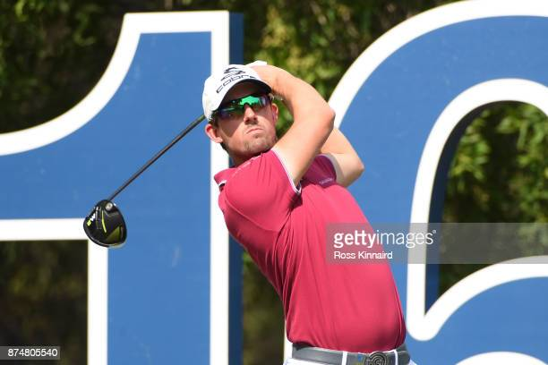 Alexander Bjork of Sweden tees off on the 16th hole during the first round of the DP World Tour Championship at Jumeirah Golf Estates on November 16...