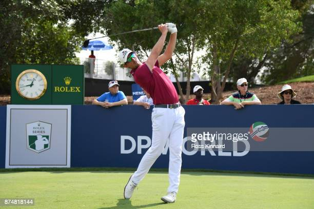 Alexander Bjork of Sweden tees off on the 18th hole during the first round of the DP World Tour Championship at Jumeirah Golf Estates on November 16...