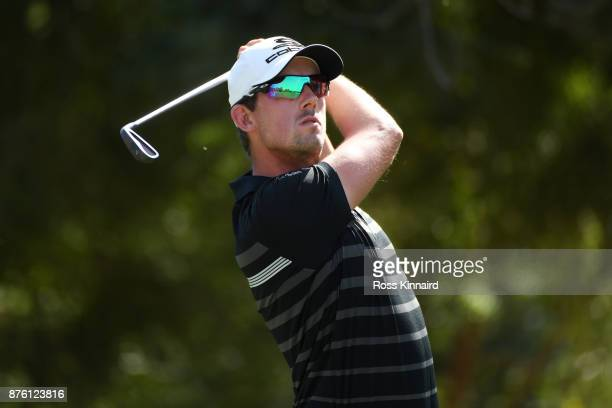 Alexander Bjork of Sweden tees off on the 4th hole during the final round of the DP World Tour Championship at Jumeirah Golf Estates on November 19...