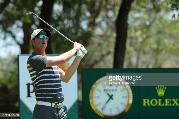 Alexander Bjork of Sweden tees off on the 4th hole during the second round of the Nedbank Golf Challenge at Gary Player CC on November 10 2017 in Sun...