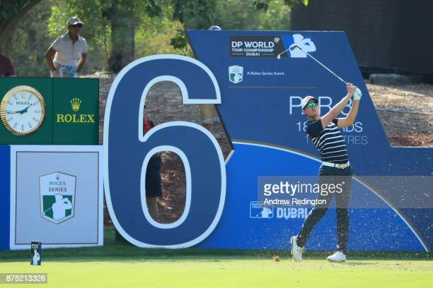 Alexander Bjork of Sweden tees off on the 6th hole during the second round of the DP World Tour Championship at Jumeirah Golf Estates on November 17...