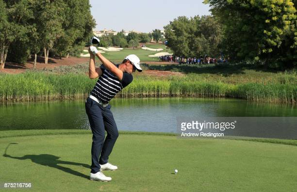 Alexander Bjork of Sweden tees off on the 7th hole during the second round of the DP World Tour Championship at Jumeirah Golf Estates on November 17...