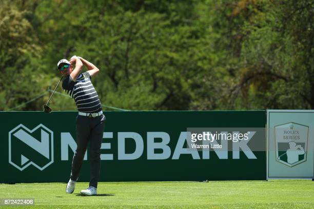 Alexander Bjork of Sweden tees off on the 9th hole during the second round of the Nedbank Golf Challenge at Gary Player CC on November 10 2017 in Sun...