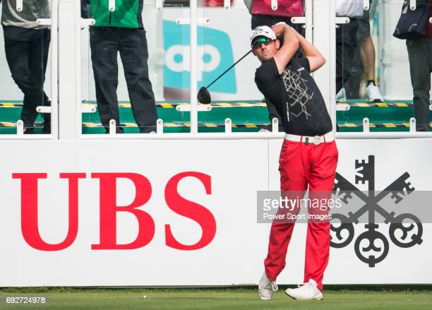 Alexander Bjork of Sweden tees off the first hole during the 58th UBS Hong Kong Golf Open as part of the European Tour on 08 December 2016 at the...
