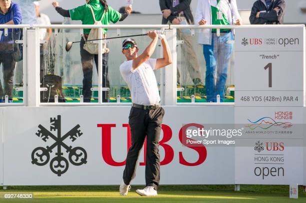 Alexander Bjork of Sweden tees off the first hole during the 58th UBS Hong Kong Golf Open as part of the European Tour on 10 December 2016 at the...