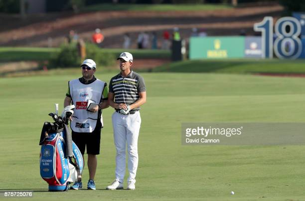 Alexander Bjork of Sweden wiats to play his second shot on the 18th hole during the third round of the 2017 DP World Tour Championship on the Earth...