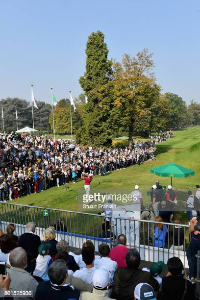 Alexander Bjork tees off on the 1st during the final round of the 2017 Italian Open at Golf Club Milano Parco Reale di Monza on October 15 2017 in...