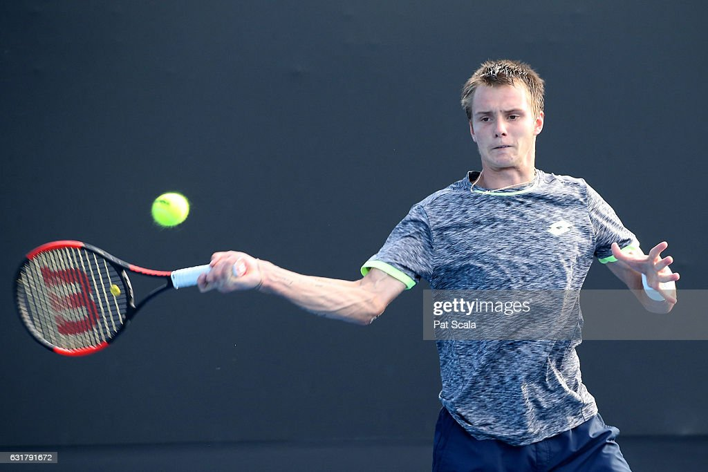 Alexander Bublik of Kazakhstan plays a forehand in his first round match against Lucas Pouille of France on day one of the 2017 Australian Open at Melbourne Park on January 16, 2017 in Melbourne, Australia.