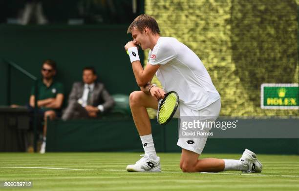Alexander Bublik of Kazakhstan reacts during the Gentlemen's Singles first round match against Andy Murray of Great Britain on day one of the...