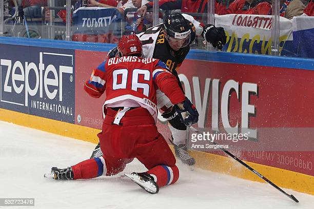 Alexander Burmistrov of Russia collides with Moritz Muller of Germany at Ice Palace on May 19 2016 in Moscow Russia