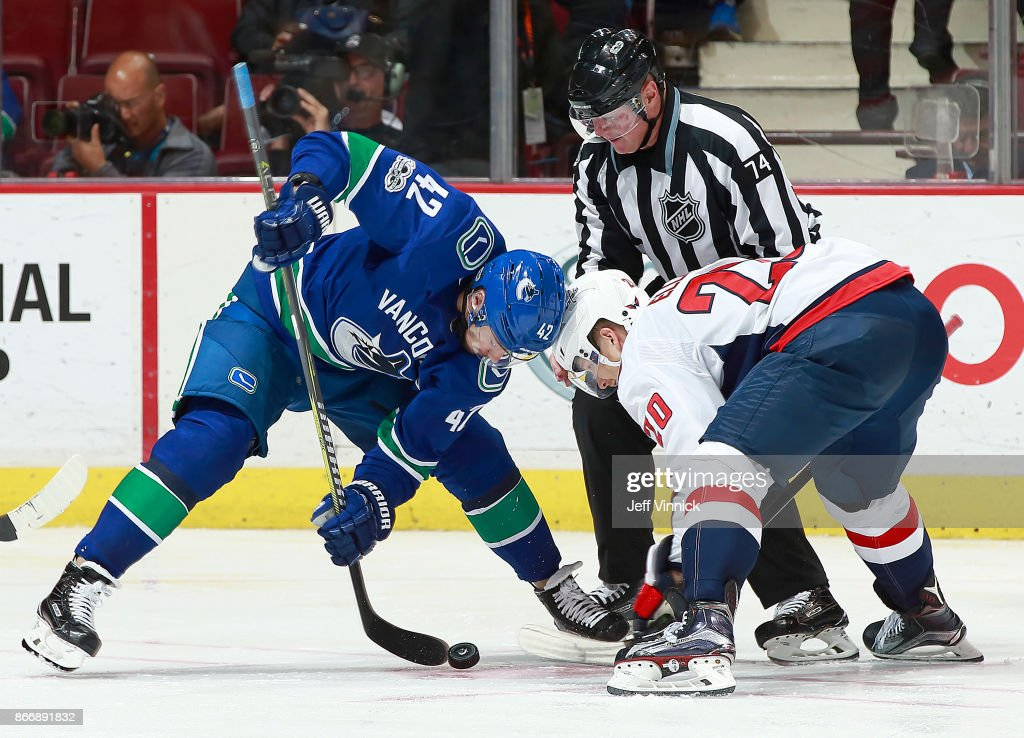 Alexander Burmistrov #42 of the Vancouver Canucks and Lars Eller #20 of the Washington Capitals face off during their NHL game at Rogers Arena October 26, 2017 in Vancouver, British Columbia, Canada. Vancouver won 6-2.