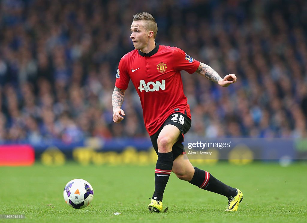 Alexander Buttner of Manchester United during the Barclays Premier League match between Everton and Manchester United at Goodison Park on April 20, 2014 in Liverpool, England.