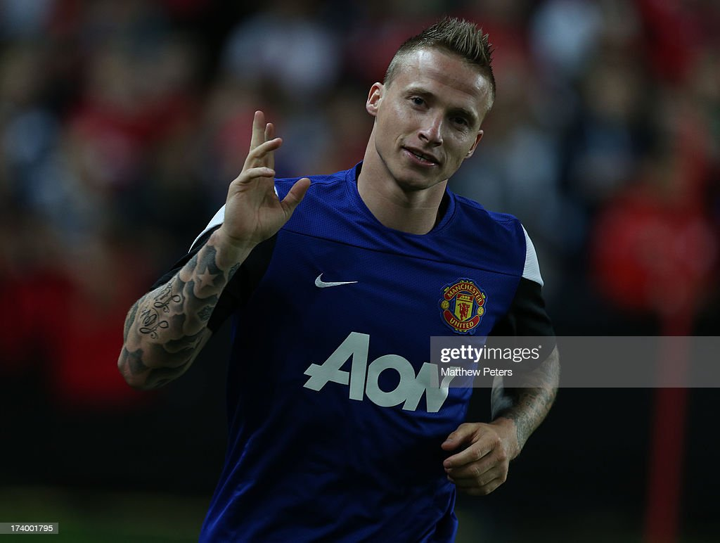 Alexander Buttner of Manchester United in action during a first team training session as part of their pre-season tour of Bangkok, Australia, China, Japan and Hong Kong on July 19, 2013 in Sydney, Australia.