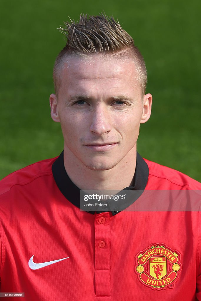Alexander Buttner of Manchester United poses at the annual club photocall at Old Trafford on September 26, 2013 in Manchester, England.