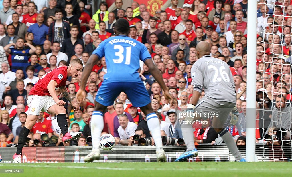 Alexander Buttner of Manchester United scores their third goal during the Barclays Premier League match between Manchester United and Wigan Athletic at Old Trafford on September 15, 2012 in Manchester, England.