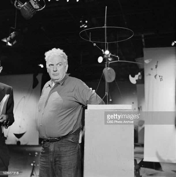 Alexander Calder with his Mobiles on CAMERA THREE Image dated September 9 1956