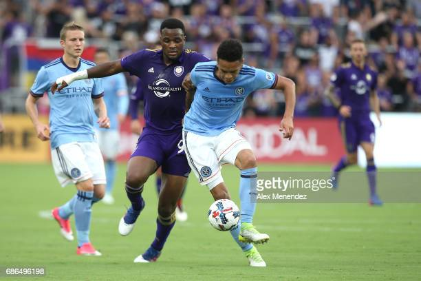 Alexander Callens of New York City FC defends against Cyle Larin of Orlando City SC during a MLS soccer match between New York City FC and the...