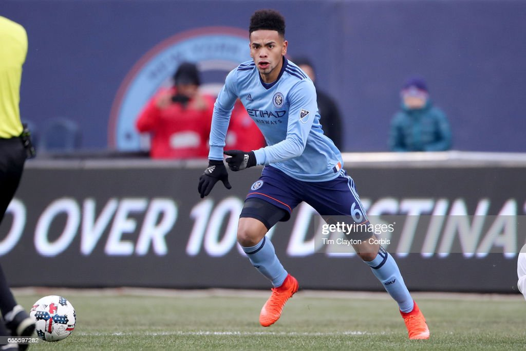Alexander Callens #6 of New York City FC in action during the New York City FC Vs Montreal Impact regular season MLS game at Yankee Stadium on March 18, 2017 in New York City.