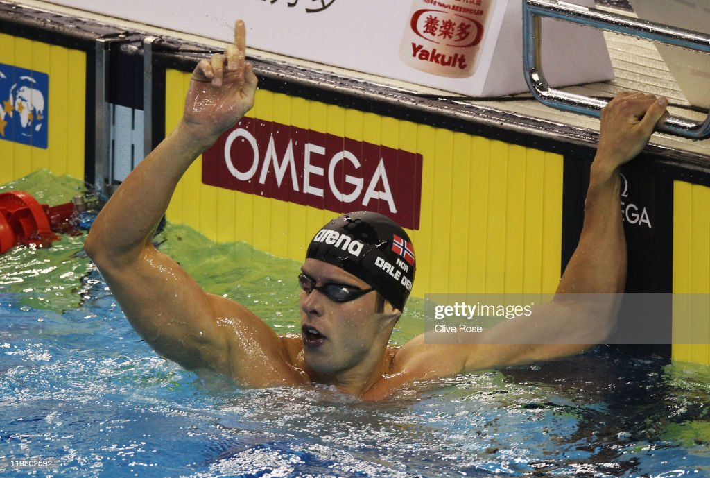 <a gi-track='captionPersonalityLinkClicked' href=/galleries/search?phrase=Alexander+Dale+Oen&family=editorial&specificpeople=2090176 ng-click='$event.stopPropagation()'>Alexander Dale Oen</a> of Norway celebrates after he won the Men's 100m Breaststroke final during Day Ten of the 14th FINA World Championships at the Oriental Sports Center on July 25, 2011 in Shanghai, China.