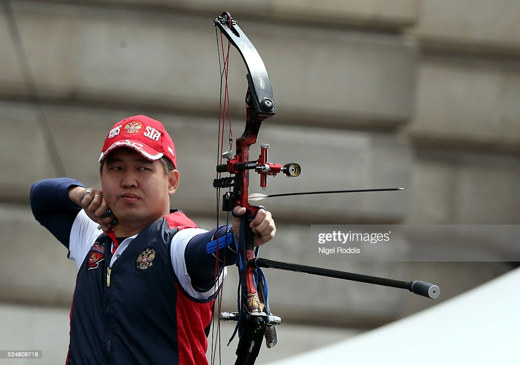 Alexander Dambaev of Russia shoots during the Mens Team Gold medal team match at the European Archery Championship on May 28, 2016 in Nottingham, England.
