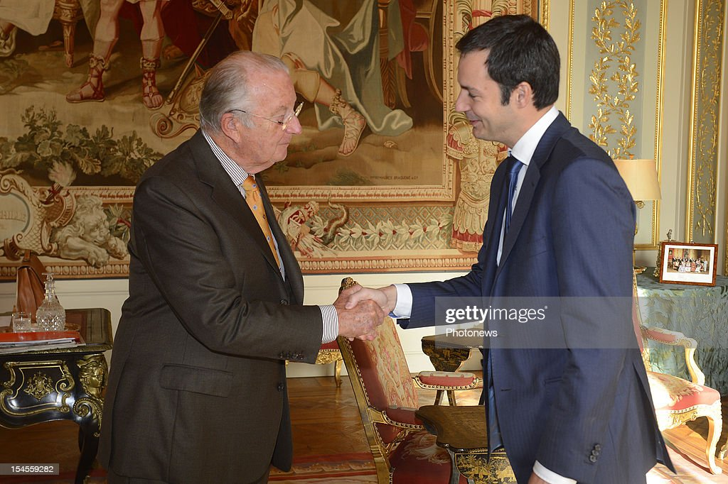 Alexander De Croo (R) shakes the hand of King <a gi-track='captionPersonalityLinkClicked' href=/galleries/search?phrase=Albert+II+of+Belgium&family=editorial&specificpeople=159444 ng-click='$event.stopPropagation()'>Albert II of Belgium</a> as he is sworn in as Vice-Prime Minister on October 22, 2012 in Brussels, Belgium.