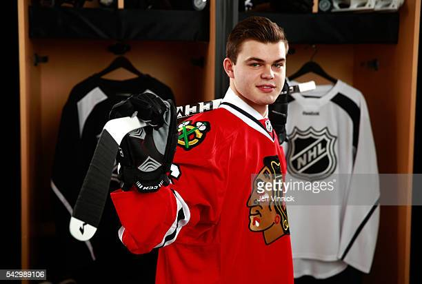Alexander Debrincat poses for a portrait after being selected 39th overall by the Chicago Blackhawks during the 2016 NHL Draft at First Niagara...