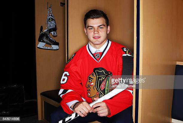 Alexander Debrincat poses for a portrait after being selected 39th overall by the Chicago Red Wings during the 2016 NHL Draft on June 25 2016 in...